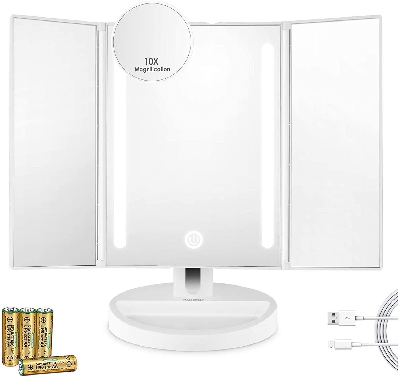 Auxmir Espejo Maquillaje con Luz LED, Espejo Cosmético Tríptico con Dos Caras con Pantalla Táctil Regulación y Giratoria de 180 °, para Afeitado y Cuidado Facial, Blanco