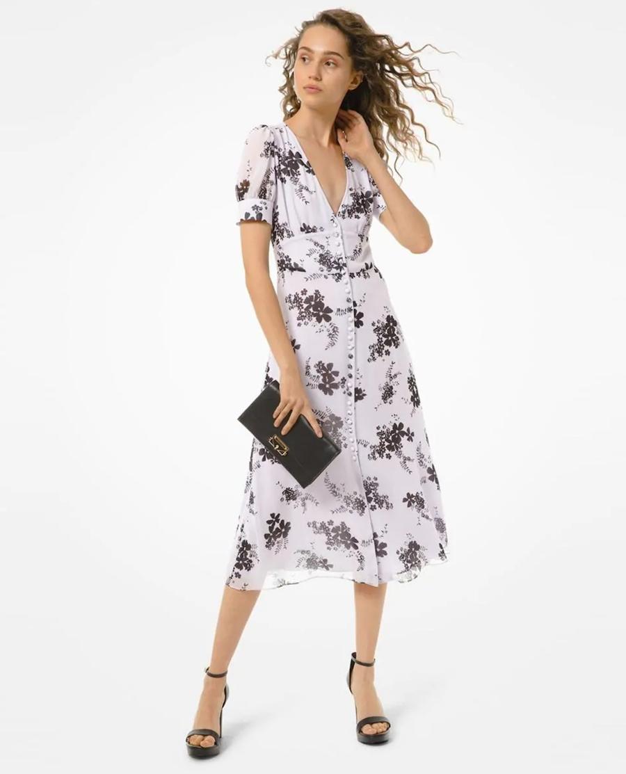 Vestido midi de manga corta y estampado floral