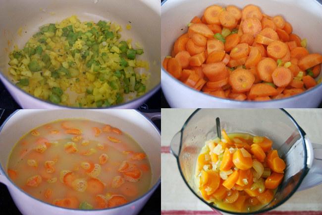 Crema fría de zanahoria y naranja con nata sin lactosa. Pasos