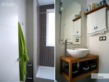 Antes y después: aprovechando un rincón del baño