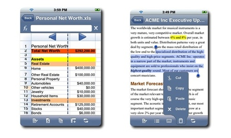 QuickOffice, edición de Excel y Word en el iPhone