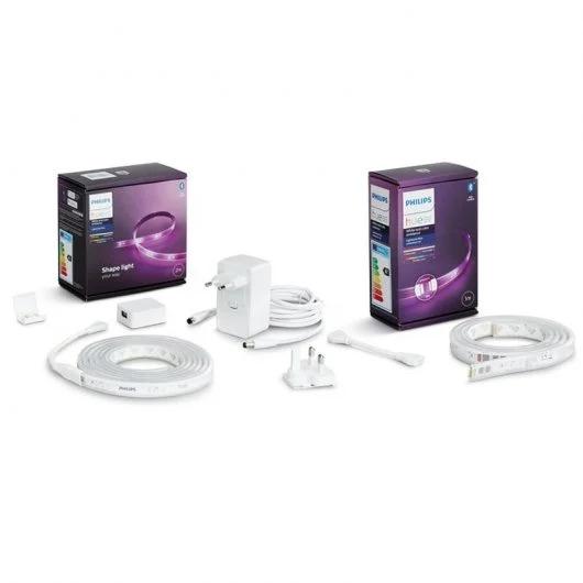 Philips Pack Hue Lightstrip Plus Tira LED RGB con Alimentador 2m + Extensión de 1 metro