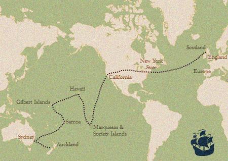 Mapa de los viajes de R. L. Stevenson