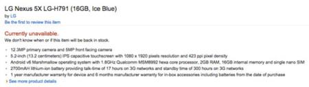 Especificaciones Nexus 5x
