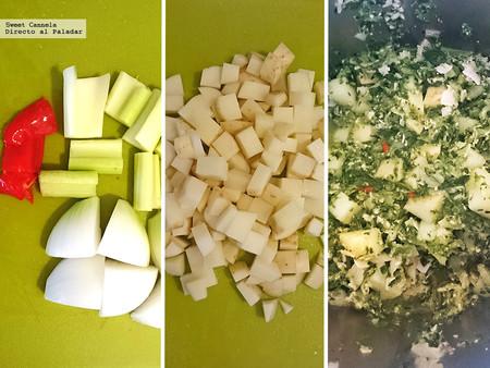 Sopa Minestrone con espinacas y pavo