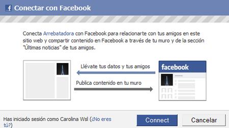 Conéctate a Arrebatadora con tu cuenta de Facebook