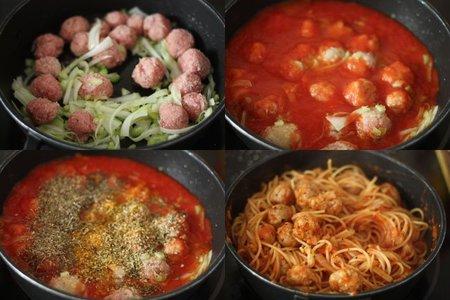 Espaguetis con albóndigas. Pasos