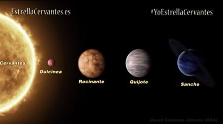La historia de una estrella llamada Cervantes (y sus planetas de El Quijote)