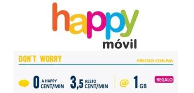 Happy Móvil también mejora su tarifa Don't Worry, con 1 GB a cambio de 10 euros de consumo mínimo