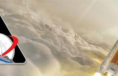 Éste es el emblema del supercohete SLS de la NASA para explorar el espacio profundo