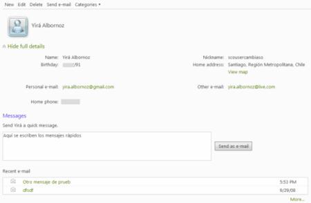 Pagina de contacto en Hotmail Wave 3