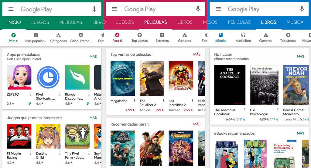Cambios en Google® Play: mas recientes colores, tarjetas en reseñas, preservar actualizaciones y mas