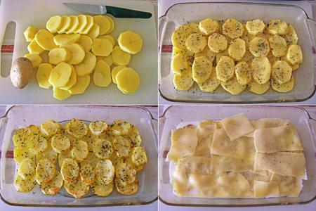 Patatas gratinadas a la provenzal con queso gouda sin lactosa. Pasos