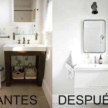 El inspirador Antes y Después de este cuarto de baño esta lleno de ideas fáciles de replicar