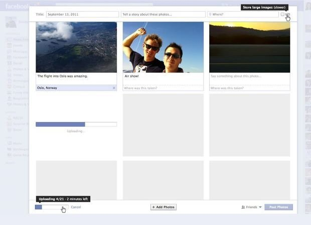 facebook uploader real time