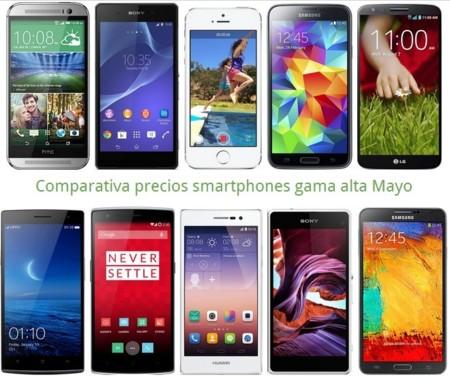 Comparativa Precios Galaxy S5, LG G2, HTC One M8, Xperia Z2, iPhone 5s y otros gama alta en Mayo
