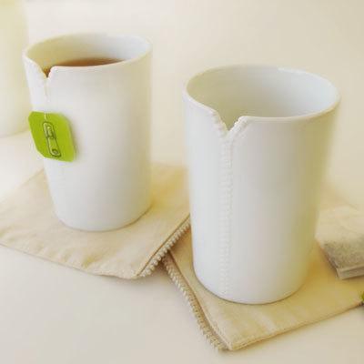 Tazas y posavasos con cremallera, para la hora del té