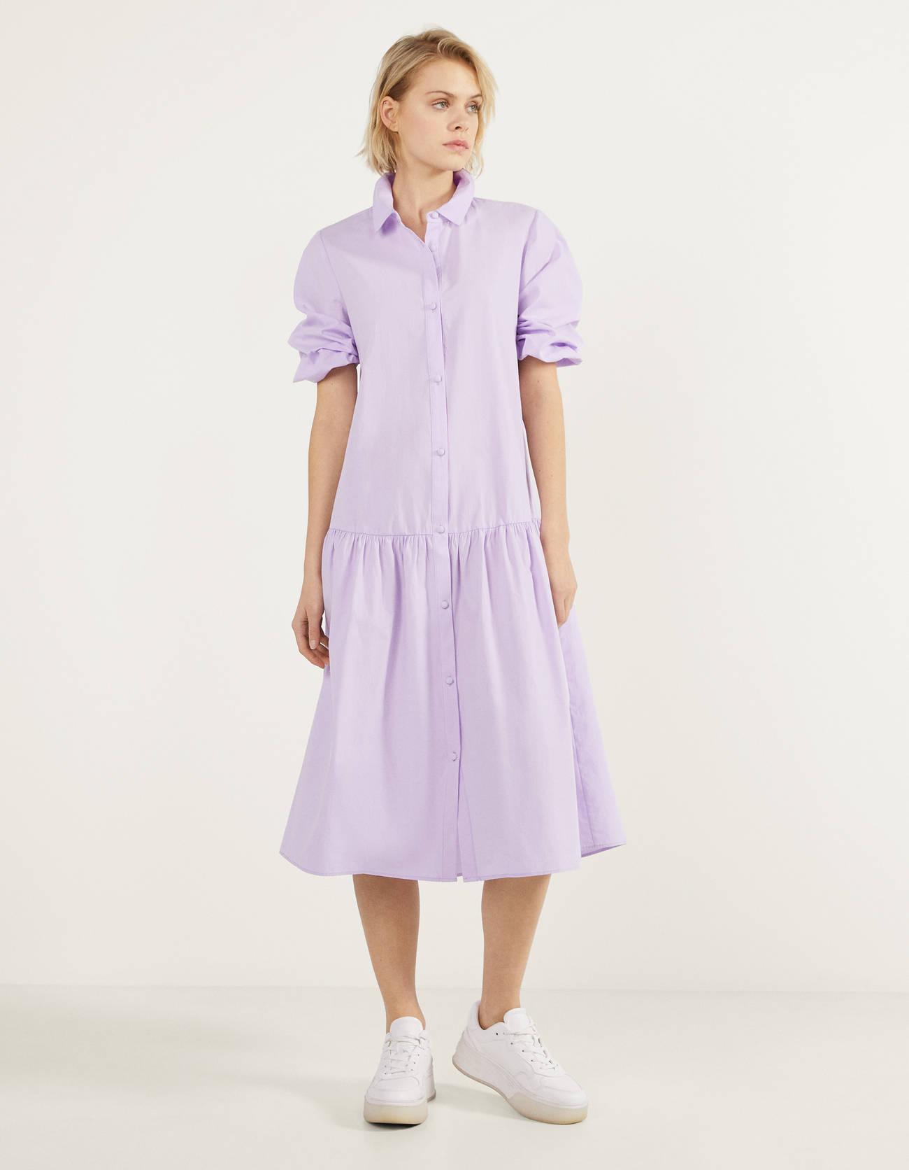 Vestido camisero de popelín en lila