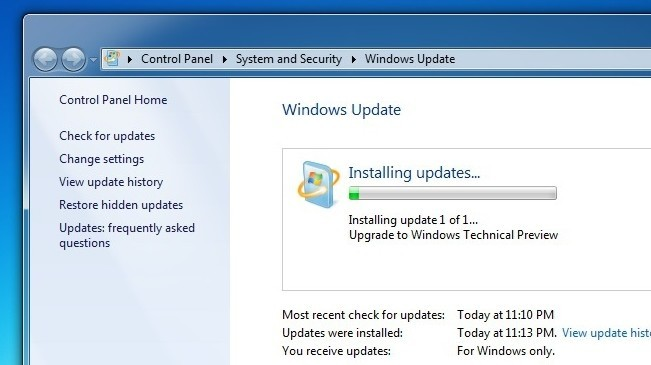 Si usas Windows 7 tienes la opción de actualizar a Windows 10 Tech Preview mediante Windows Update