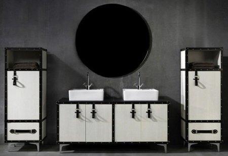 Maletas y baúles como muebles para el baño