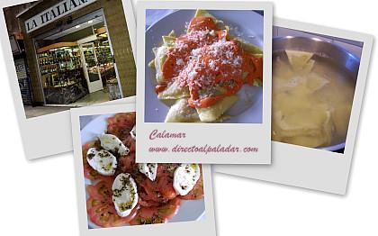 Directo al Paladar | Ravioli de bacalao con salsa de pimientos. Collage