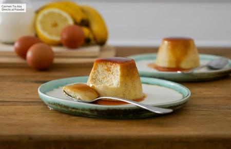 Flan de plátano, receta de postre sencilla y deliciosa (para dar salida a esos plátanos maduros que nadie quiere comer)