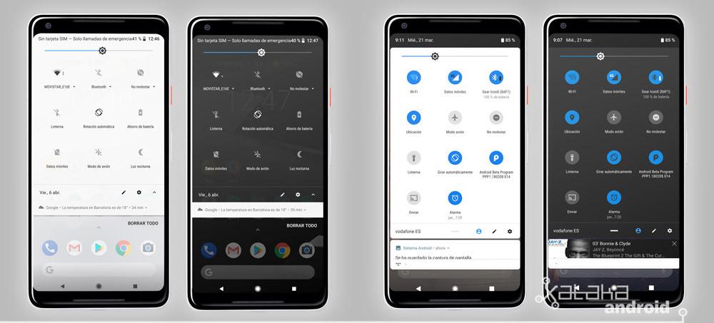 Android P esquema ajustes rápidos en Android-OS Oreo vs Android-OS P