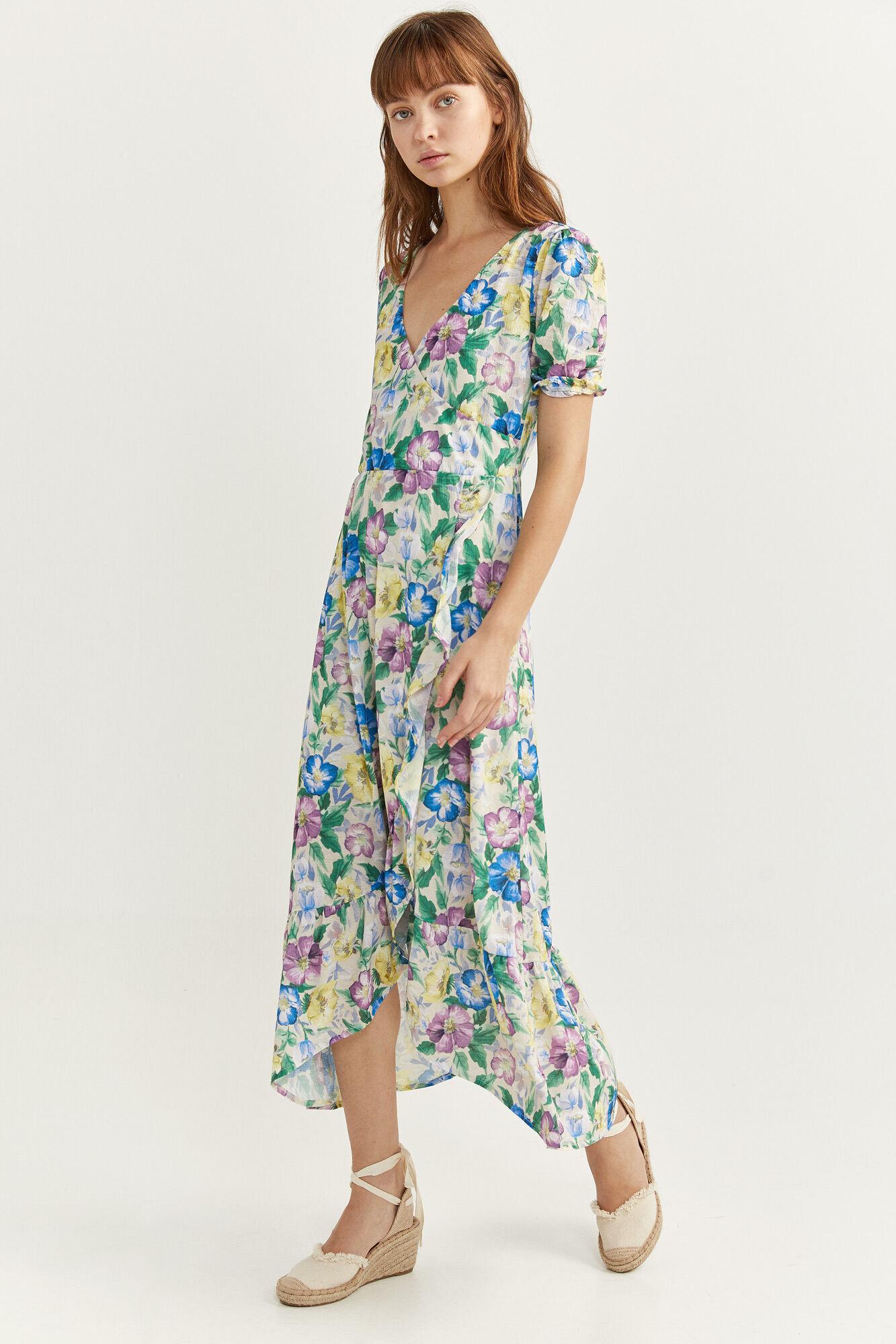 Vestido midi cruzado con estampado floral