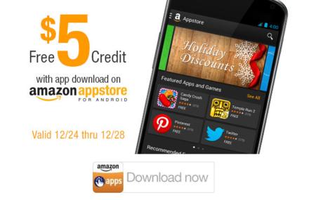 Amazon Appstore regala por festividades 5$ de credito