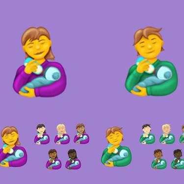 Anuncian nuevos emojis de madres y padres alimentando a un bebé con biberón