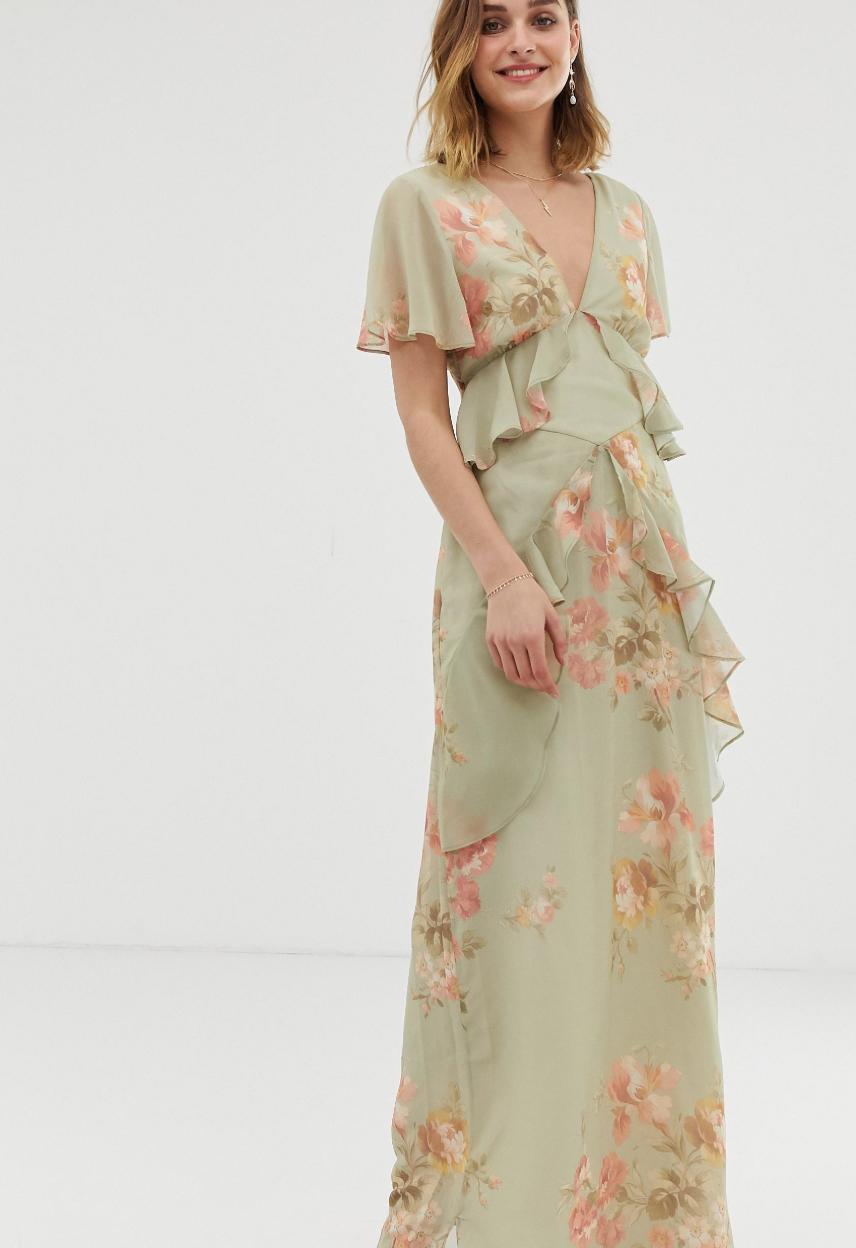 Vestido largo y vaporoso con volantes, espalda abierta y estampado salvia verde floral de Hope & Ivy