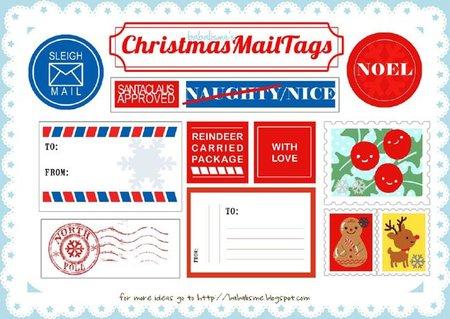 Etiquetas para envíos de Papá Noel