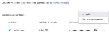 Cómo importar y exportar contraseñas en Google Chrome