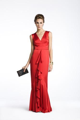 Vestido rojo largo de carolina herrera