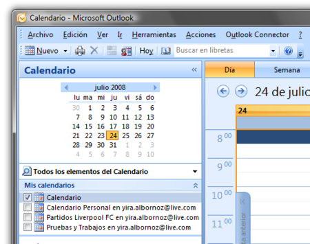 Outlook Connector se actualiza y añade soporte para Windows Live Calendar