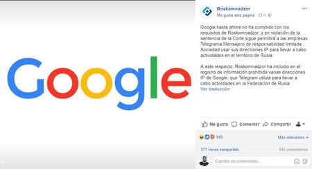 Roskomnadzor ruso habla del bloqueo de Google en su Facebook oficial