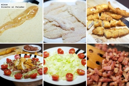 Ensalada de pollo y bacon - elaboración