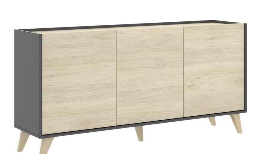 Aparador mueble auxiliar Nela grafito y natural 155x75x43 cm
