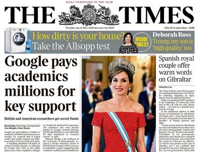 La Reina Letizia le roba protagonismo a Felipe VI y es portada de The Times