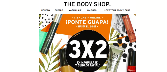 3x2 en maquillaje y cuidado facial de The Body Shop