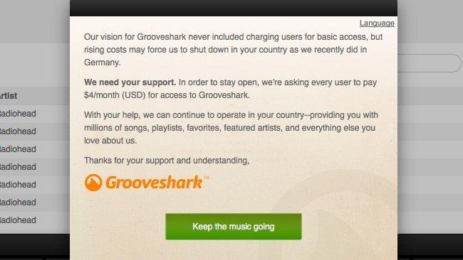 Grooveshark pago