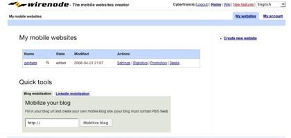 Wirenode, crea tu web para dispositivos móviles