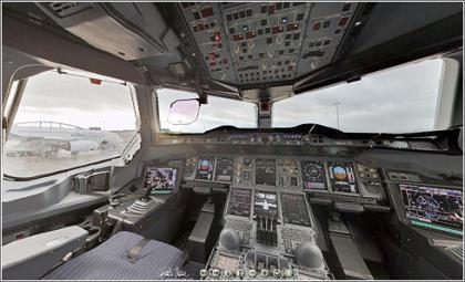 Dentro de la cabina del A380