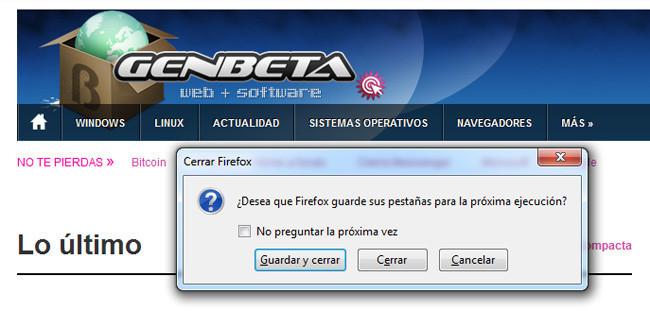 Firefox - Guardar y salir