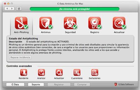 Interfaz antivirus GData