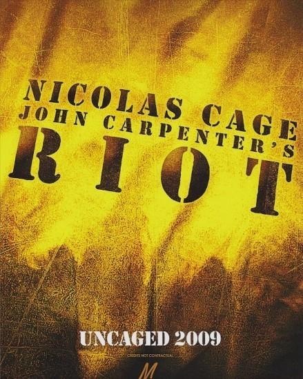 'Riot' de John Carpenter y con Nicolas Cage, teaser póster