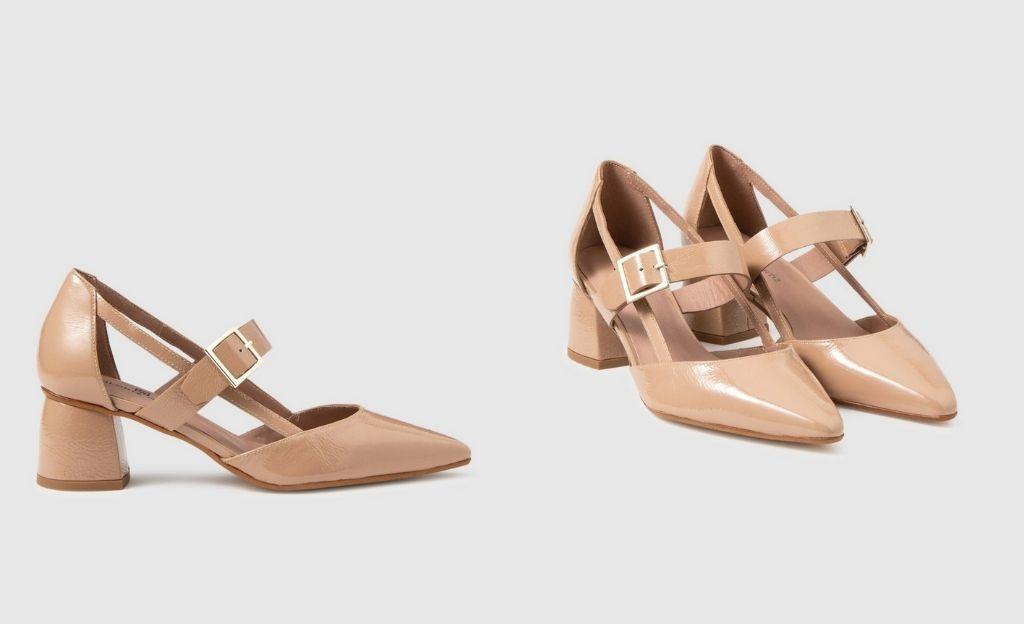 Zapatos de salón de mujer Gloria Ortiz de piel en color topo