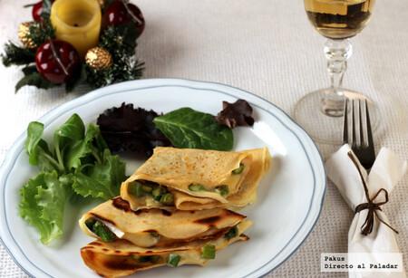Crêpes de espárragos y queso brie para la cena, receta para compartir en pareja