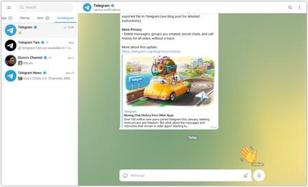 Screenshot of Telegram WebZ.