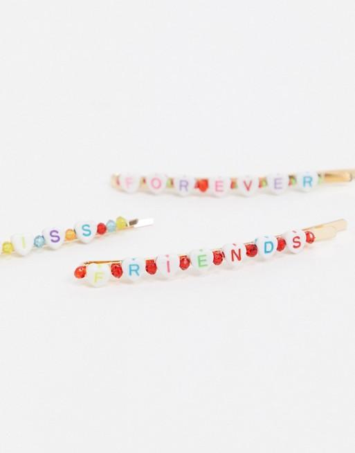 Pack de 3 pasadores para el pelo en tono dorado con cuentas de letras de ASOS